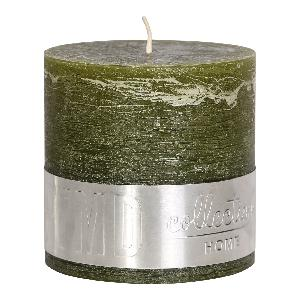 Rustic Olive Green Block Candle 10x10cm