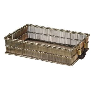 Wire Rectangular Tray with rope Handles