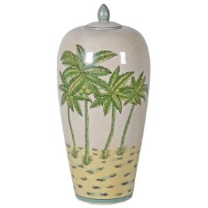 Large Lidded Palm Print Crackle Ceramic Ginger Jar