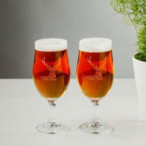 Set of 2 Stag Engraved Craft Beer Glasses