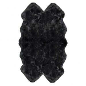 Silky Quad Sheepskin Rug Black