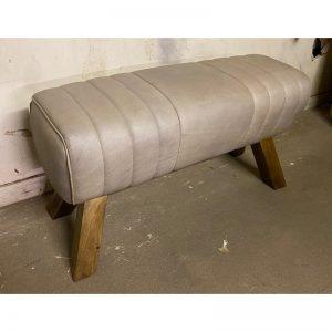Grey Leather & Wood Pommel Bench