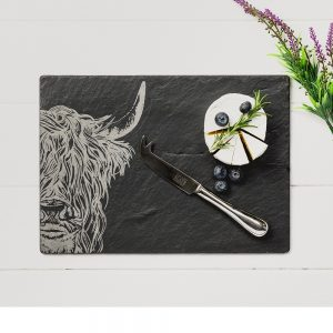 Highland Cow Engraved Cheese Board & Knife Gift Set