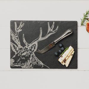 Stag Engraved Cheese Board & Knife Gift Set
