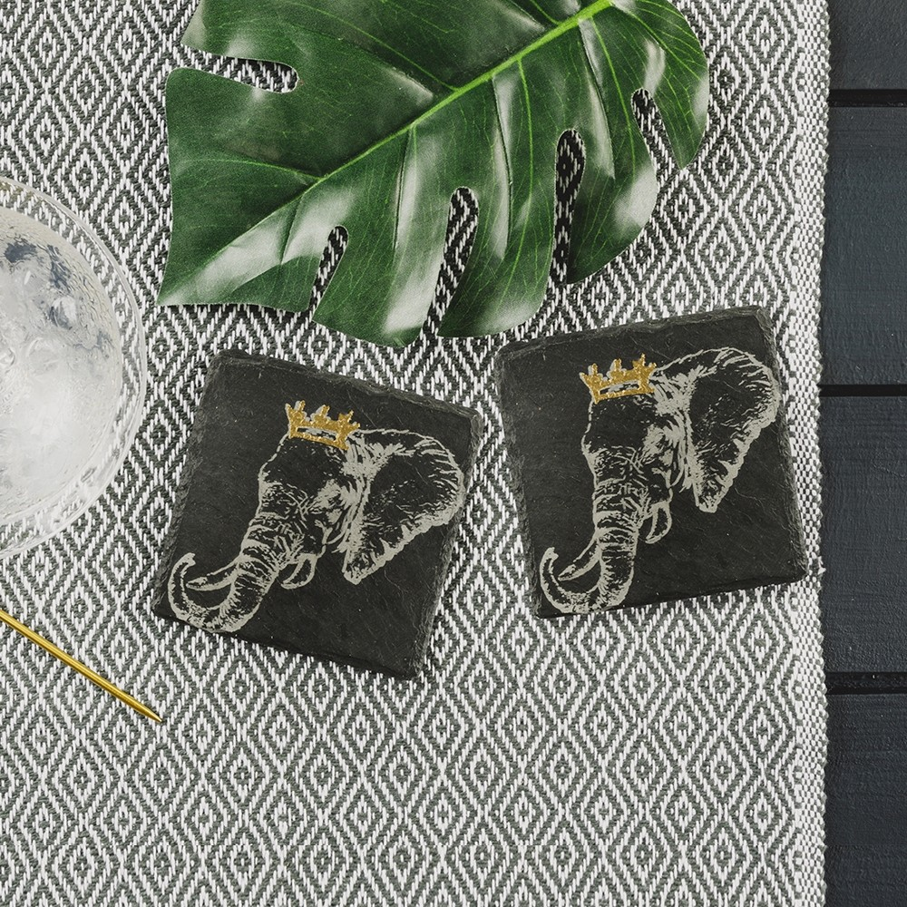 2 Gold Leaf Crowned Elephant Slate Coasters
