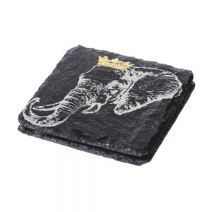 2 Gold Leaf Crowned Elephant Slate Coasters