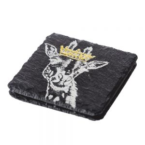 2 Gold Leaf Crowned Giraffe Slate Coasters
