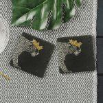 2 Gold Leaf Crowned Leopard Slate Coasters