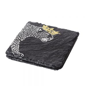 2 Gold Leaf Crowned Leopard Slate Coasters
