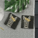 2 Gold Leaf Crowned Zebra Slate Coasters