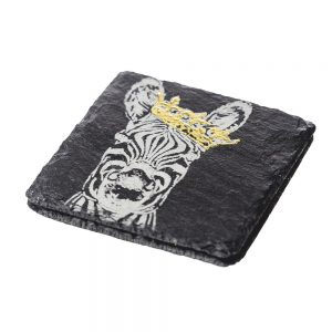 2 Gold Leaf Crowned Zebra Slate Coasters