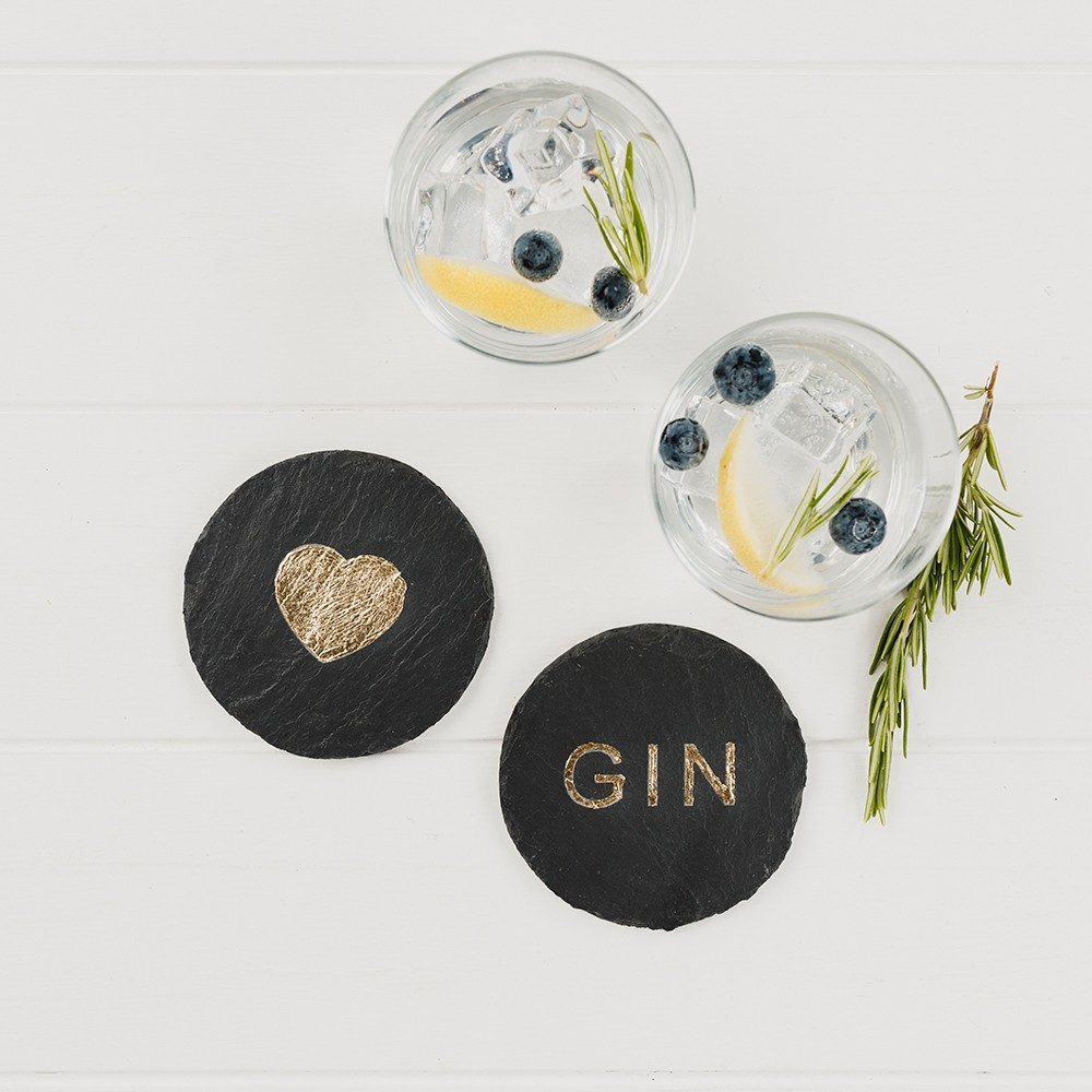 2 Etched Gold Love Gin Coasters
