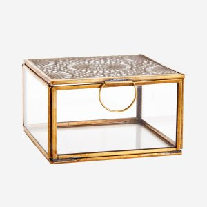 Large Glass Storage Box with Carvings