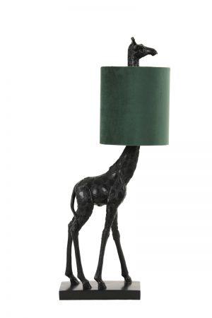 Black Giraffe Table Lamp with Green Shade