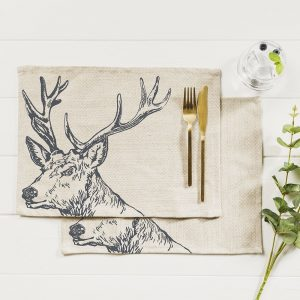 Set Of 4 Highland Cow Linen Place Mats