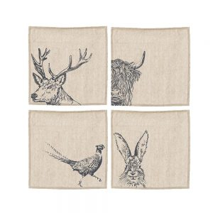 Set Of 4 Country Animal Linen Place Mats