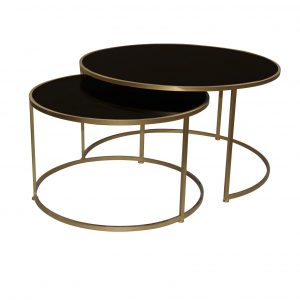Set of 2 Miyo Dark Glass Coffee Table