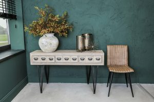 Grey Washed 8 Drawer Console Table