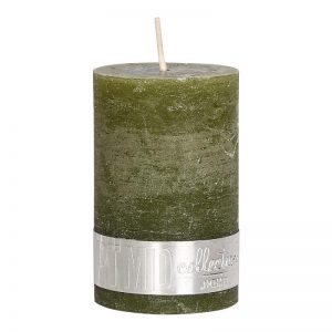 Rustic Olive Green Pillar Candle 8x5cm