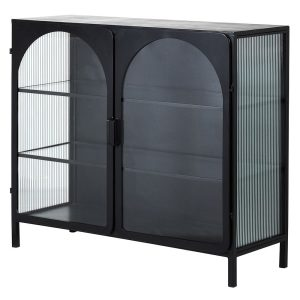 Black Industrial Metal & Glass Cabinet