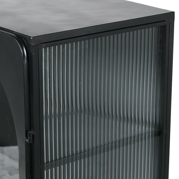 Black Industrial Metal & Glass Cabinet