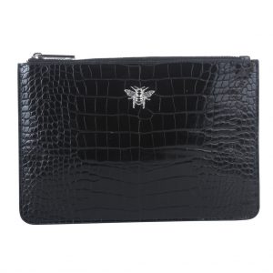 Black Bee Luxury Croc Pouch