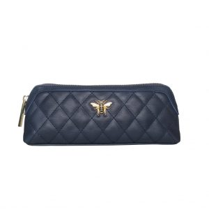 Navy Bee Quilted Make-up & Brush Case