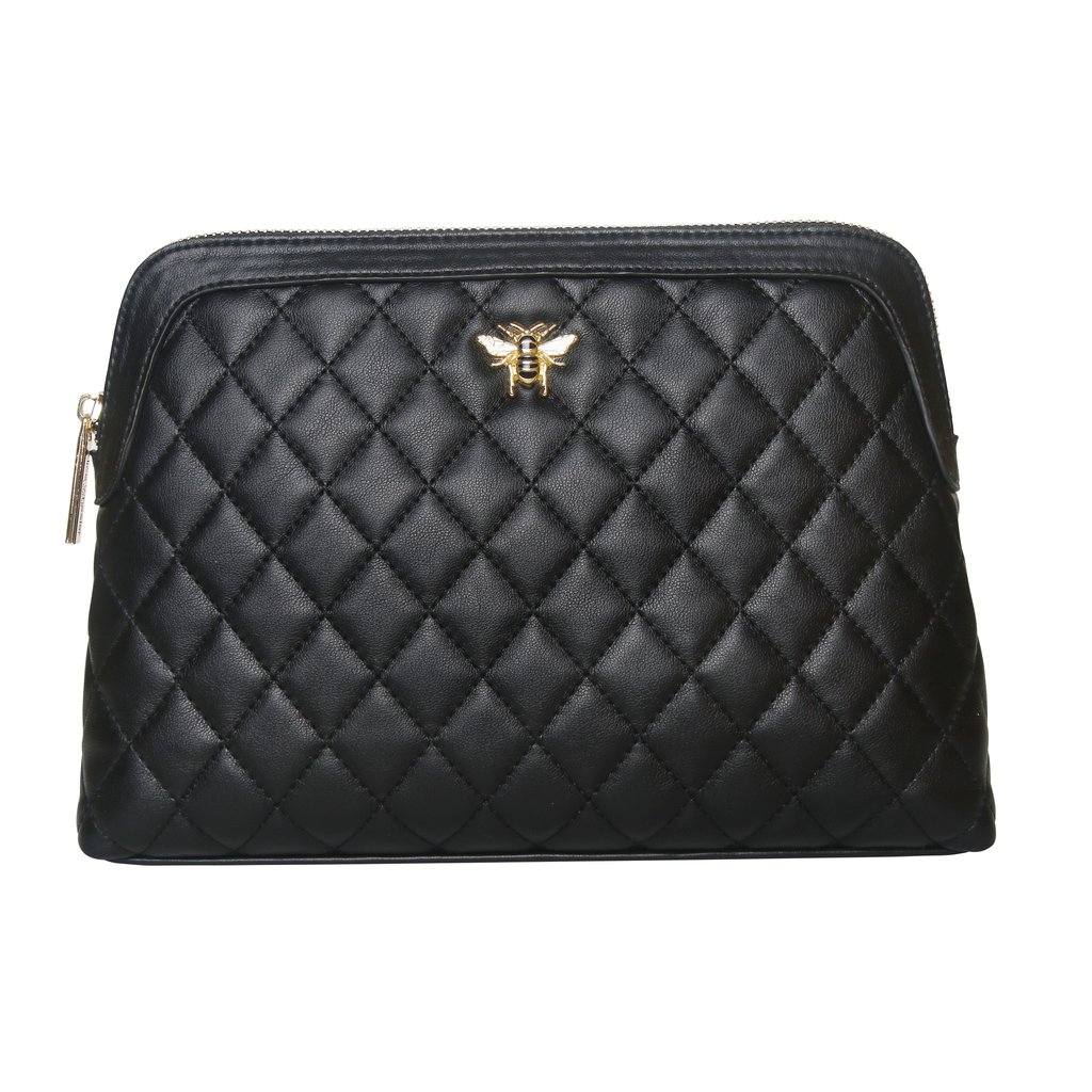 Black Quilted Bee Beauty Case