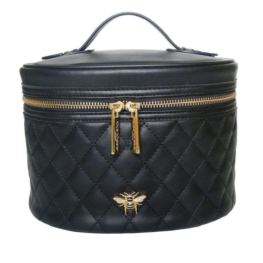 Black Quilted Bee Vanity Bag