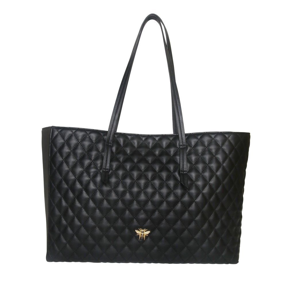 Black Quilted Bee Tote Bag