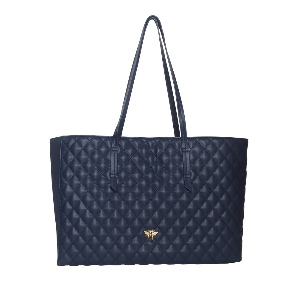 Navy Quilted Bee Tote Bag