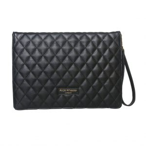 Black Quilted Bee Clutch Bag