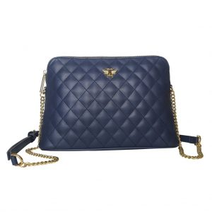 Navy Quilted Bee Cross Body Bag