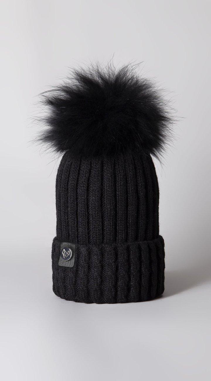 Boston Cashmere Pom Pom Hat Black