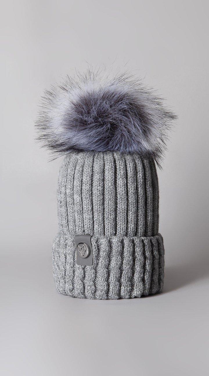 Boston Cashmere Pom Pom Hat Grey