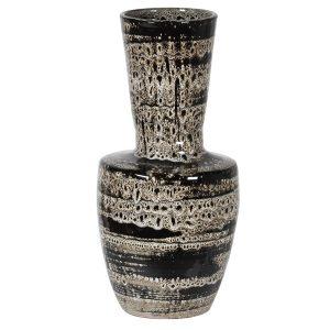 Black Handmade Stoneware Pattern Vase