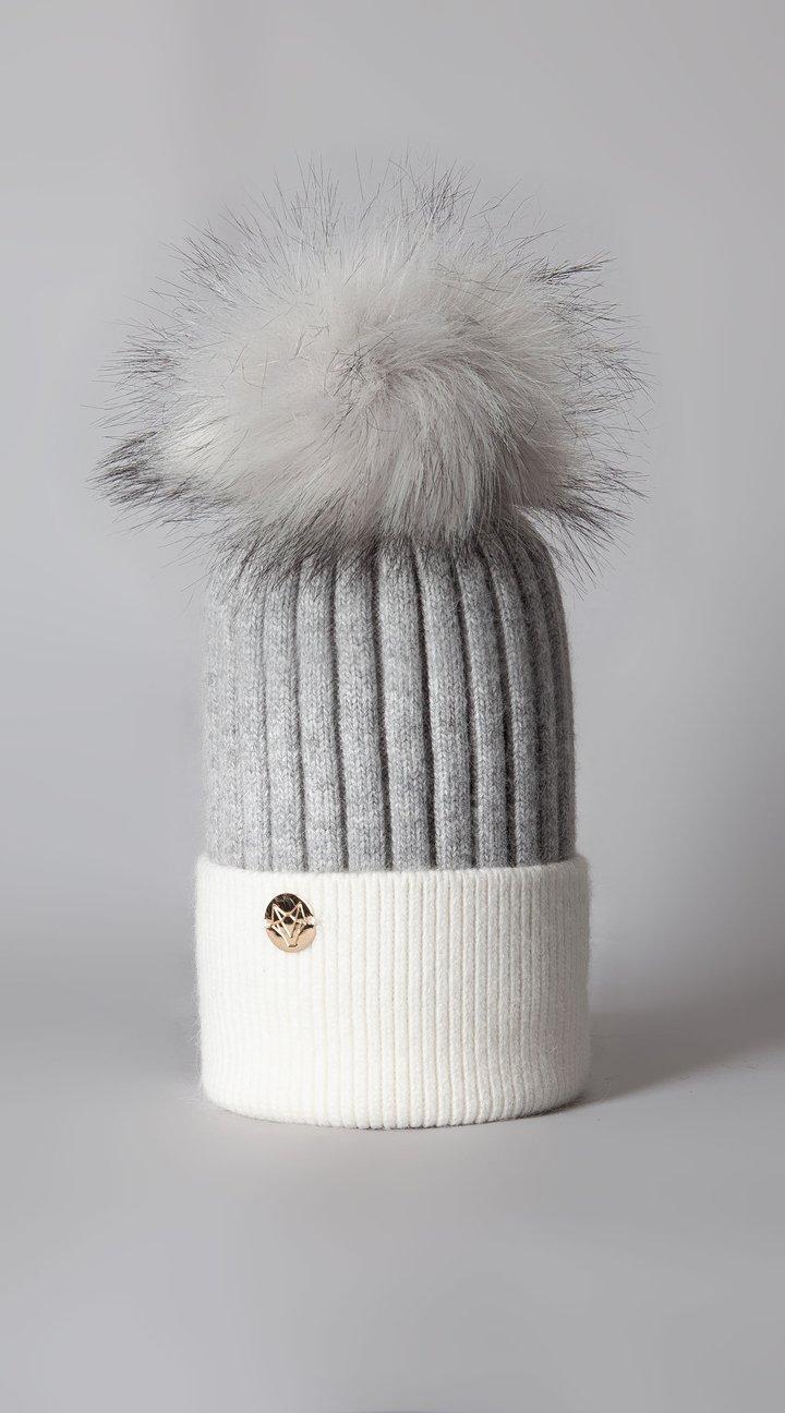 Harley Angora Pom Pom Hat Grey/White