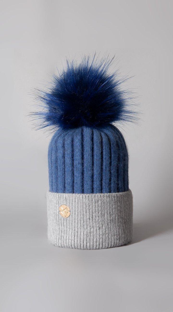 Harley Angora Pom Pom Hat Blue/Grey