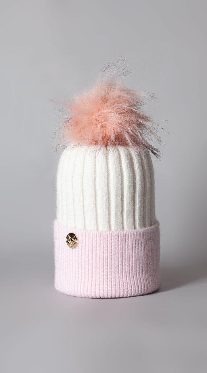 Harley Angora Pom Pom Hat White/Pink