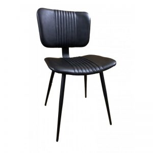 Retro Black Leather Dining Chair