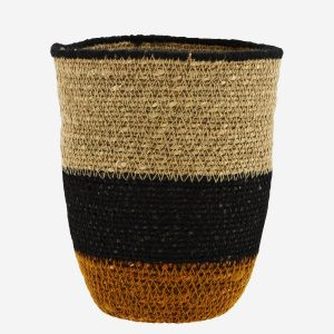 Earthy Seagrass Basket With Stitch Detail