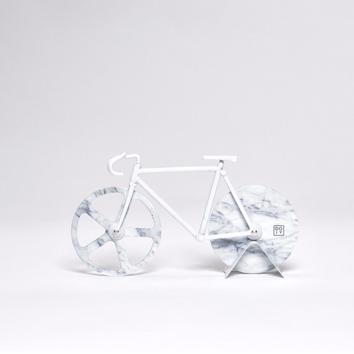 The Fixie White Marble Pizza Cutter