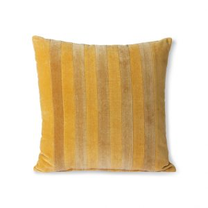 Stripped Ochre Velvet Cushion
