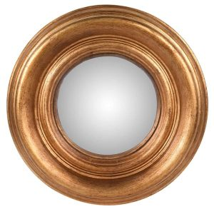Small Gold Convex Round Wall Mirror