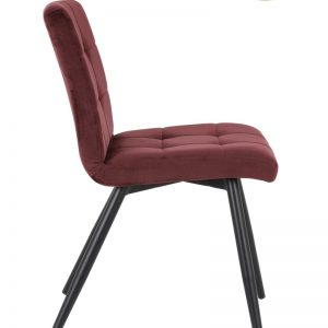 Burgundy Quilted Velvet Dining Chair