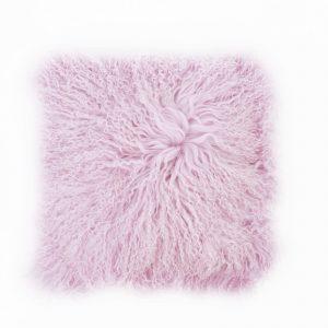 Tibetan Sheepskin Cushion Powder Purple