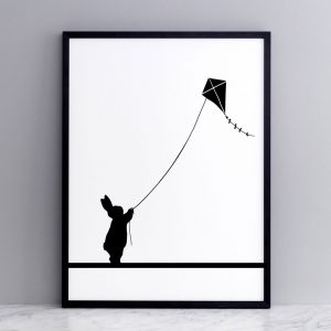 Kite Flying Rabbit Print with Frame