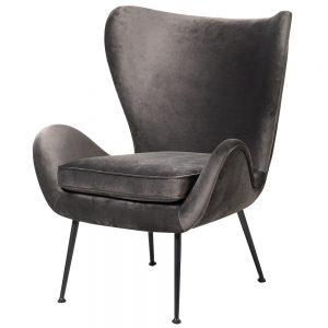Grey Velvet Wing Back Armchair