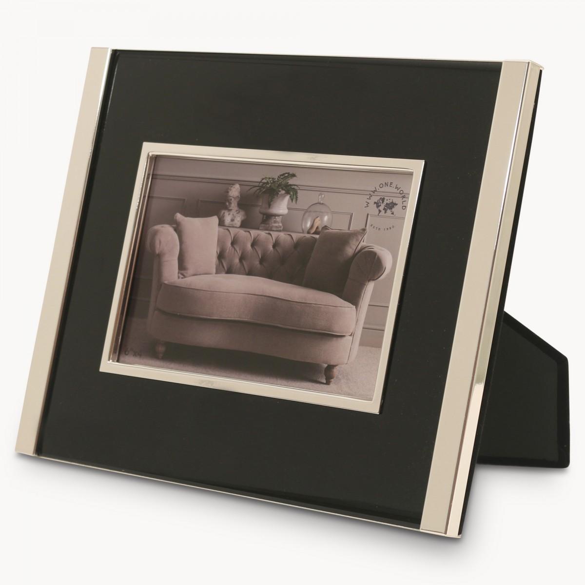 Ashgrove Chrome Photo Frame Black Inlay