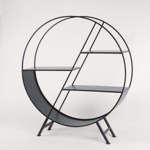 Black Circular Metal Shelf Unit